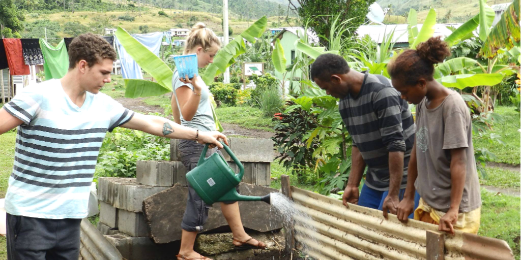 A volunteer watering a garden in Fiji.