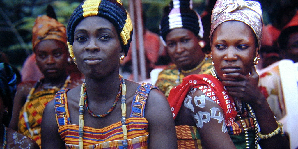 Ghanaian women in traditional Ghanaian dress.
