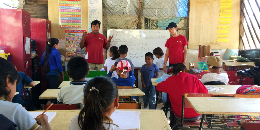 The children are being taught English during a language immersion program.