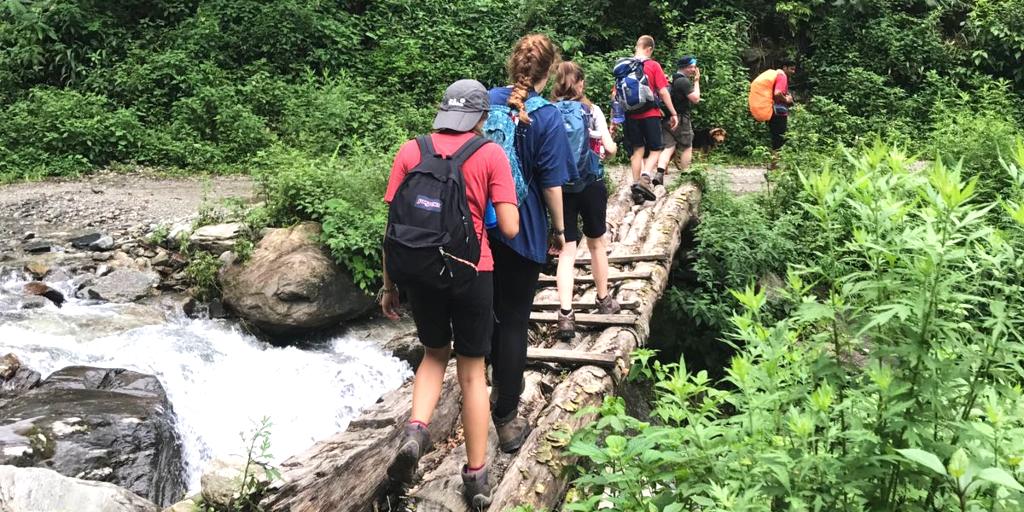 GVI participants walk through the rainforest.